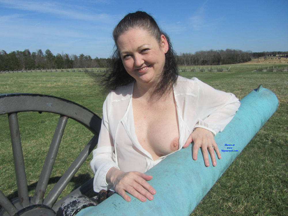 Pic #3 Spring At The Battle Fields - Big Tits, Brunette, Outdoors, Amateur