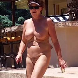 Pool Walk - Nude Amateurs, Big Tits, Brunette, Mature, Outdoors