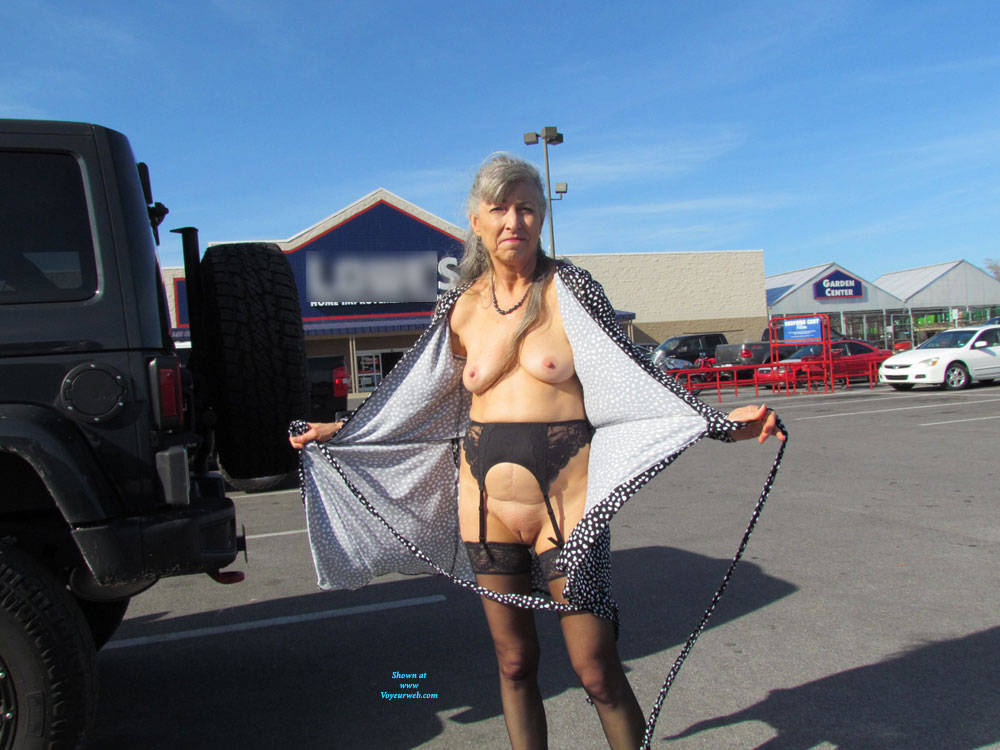 Pic #4 Out And About Town Flashing - Big Tits, Public Exhibitionist, Flashing, Wives In Lingerie, Outdoors, Public Place, Shaved, Amateur, Stockings Pics
