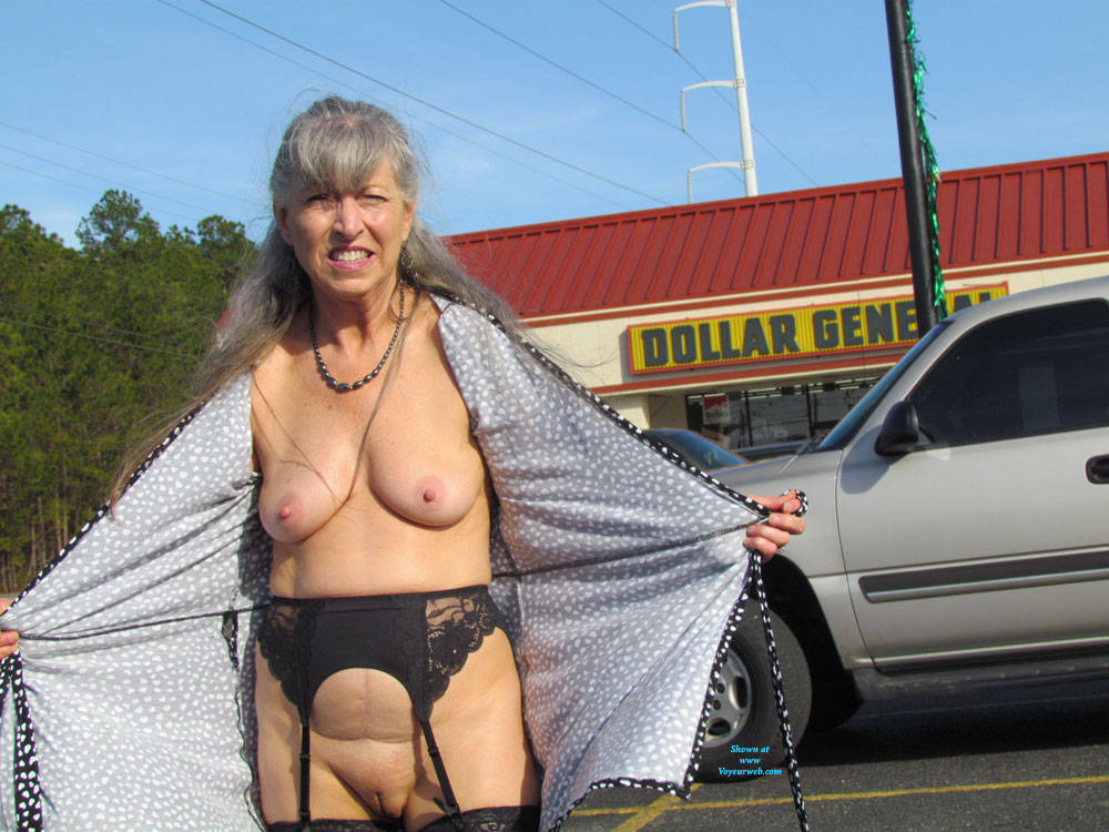 Pic #7 Out And About Town Flashing - Big Tits, Public Exhibitionist, Flashing, Wives In Lingerie, Outdoors, Public Place, Shaved, Amateur, Stockings Pics