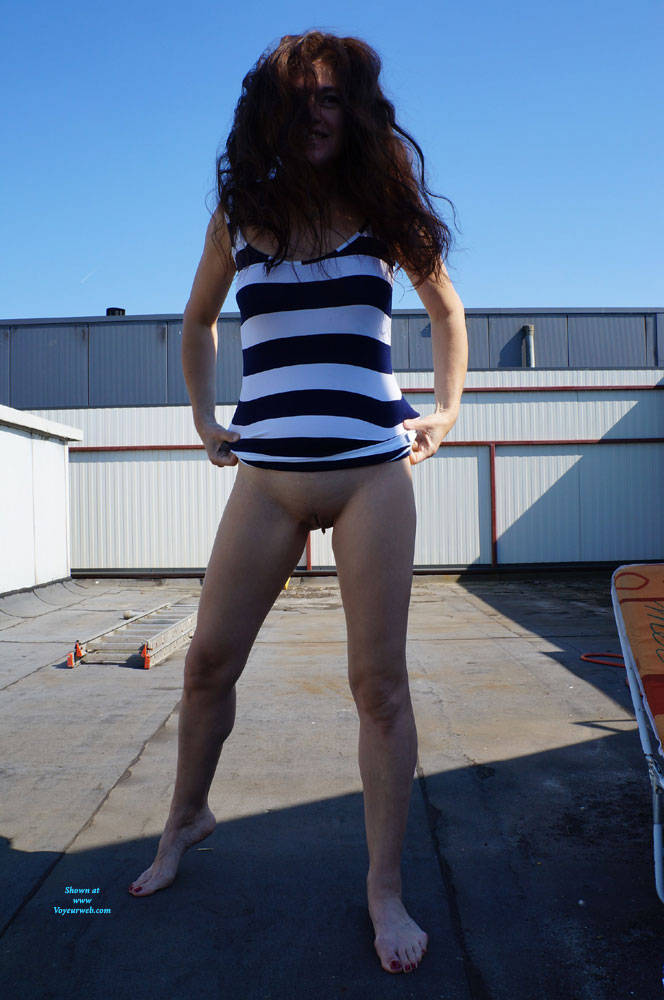 Pic #3 Up On The Roof - Brunette, Outdoors, Shaved, Amateur
