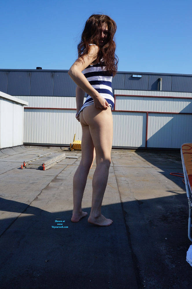 Pic #5 Up On The Roof - Brunette, Outdoors, Shaved, Amateur