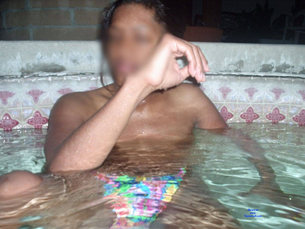 Pic #1 Outside In The Hot Tub - Big Tits, Ebony, Outdoors, Bush Or Hairy, Amateur