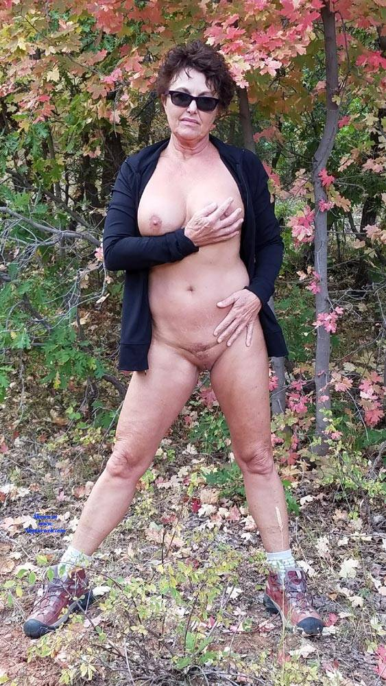 Pic #3 Fall Posing - Nude Amateurs, Big Tits, Brunette, Outdoors, Nature
