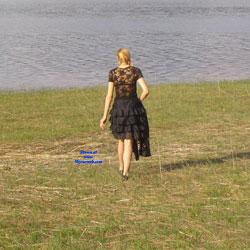 Gordica Outside Posing At Lake - Blonde, Lingerie, Outdoors, stockings pics