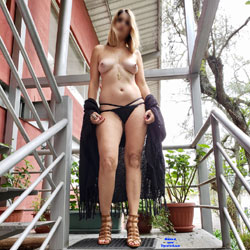 Wife Naked On The Stairs - Nude Wives, Big Tits, High Heels Amateurs, Outdoors, Long Legs