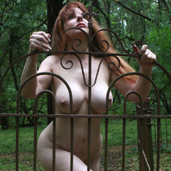 Fence In Sunlight - Big Tits, Nude Outdoors, Redhead, Naked Girl, Amateur