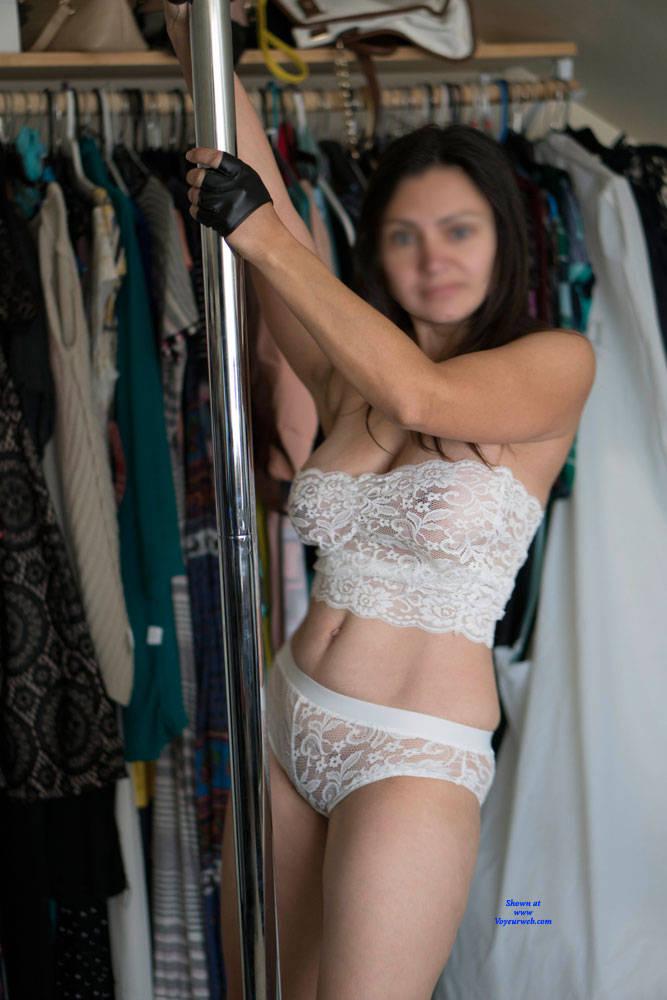 Pic #4 White Sheer Strip - Big Tits, Brunette, Lingerie, Girls Stripping