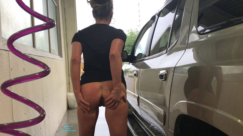 Pic #2 Car Wash Fun Outdoors - Pantieless Girls, Brunette, Public Exhibitionist, Flashing, Outdoors, Public Place, Shaved, Amateur