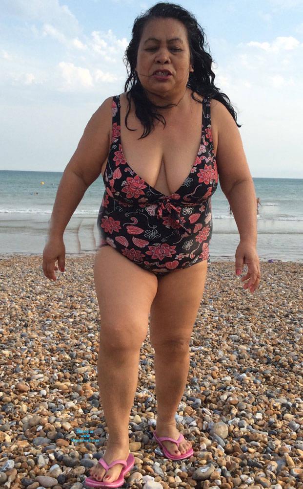 Pic #3 Boobs - Beach, Big Tits, Brunette, Outdoors, Amateur