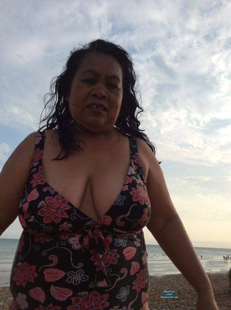 Pic #4 Boobs - Beach, Big Tits, Brunette, Outdoors, Amateur