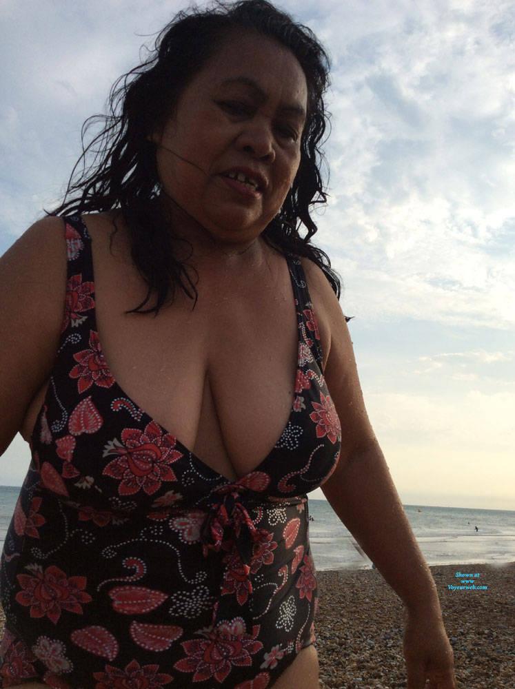 Pic #6 Boobs - Beach, Big Tits, Brunette, Outdoors, Amateur