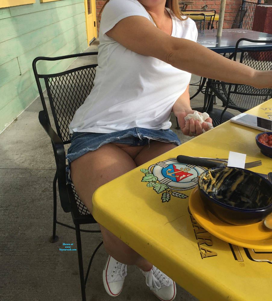 Pic #7 End Of Tanning Then Lunch - Pantieless Wives, Public Exhibitionist, Flashing, Outdoors, Public Place, Amateur