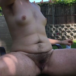 Very Hairy GF Poses Outdoors Before Trimming - Nude Girlfriends, Outdoors, Bush Or Hairy, Amateur
