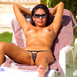 Almost Nude On A Hotel Pool - Big Tits, Brunette, Outdoors, Amateur, Shaved, Nude Girls