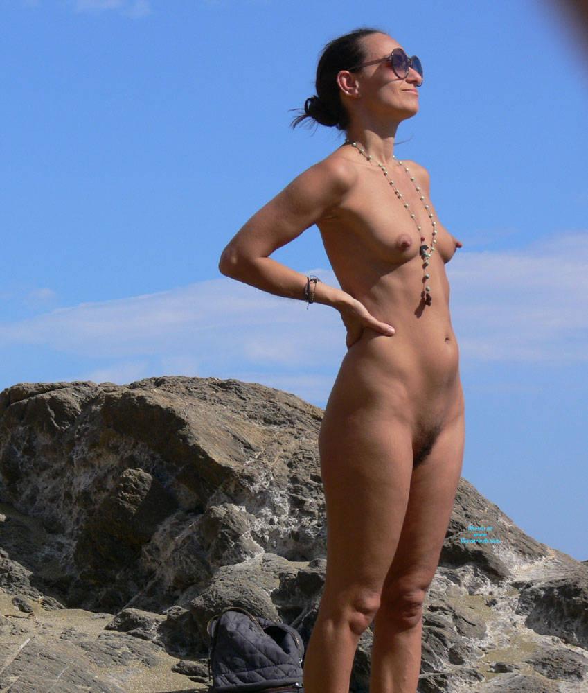 Pic #1 Nice Big Nipples  - Nude Girls, Beach, Brunette, Outdoors, Bush Or Hairy, Beach Voyeur, Big Nipples