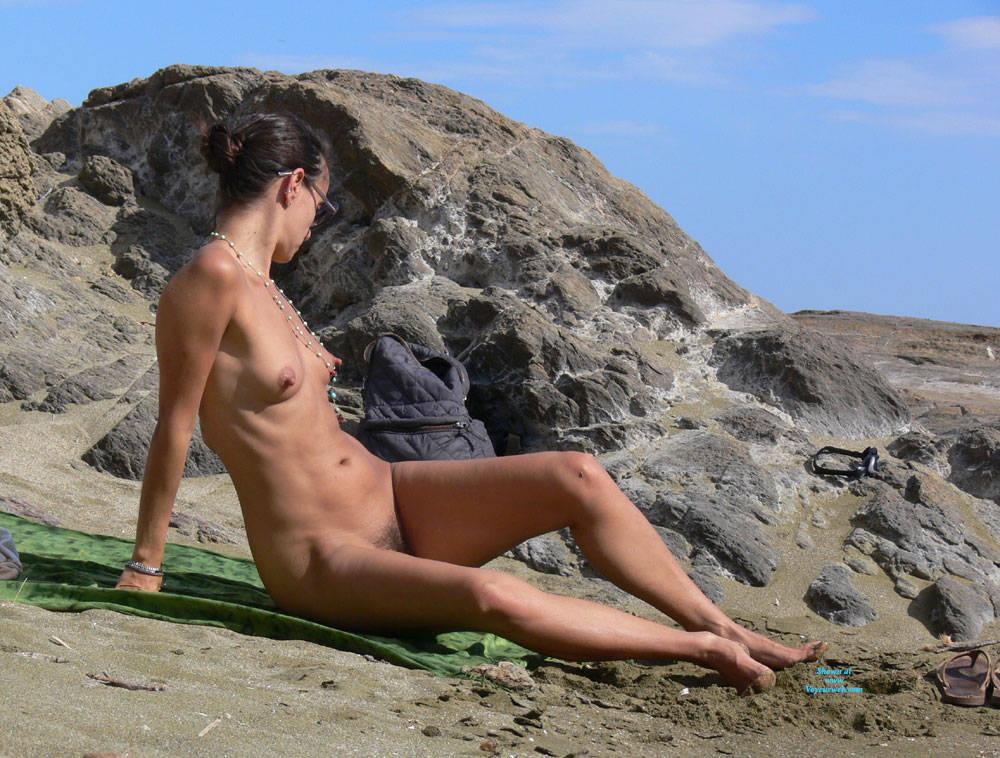 Pic #5 Nice Big Nipples  - Nude Girls, Beach, Brunette, Outdoors, Bush Or Hairy, Beach Voyeur, Big Nipples