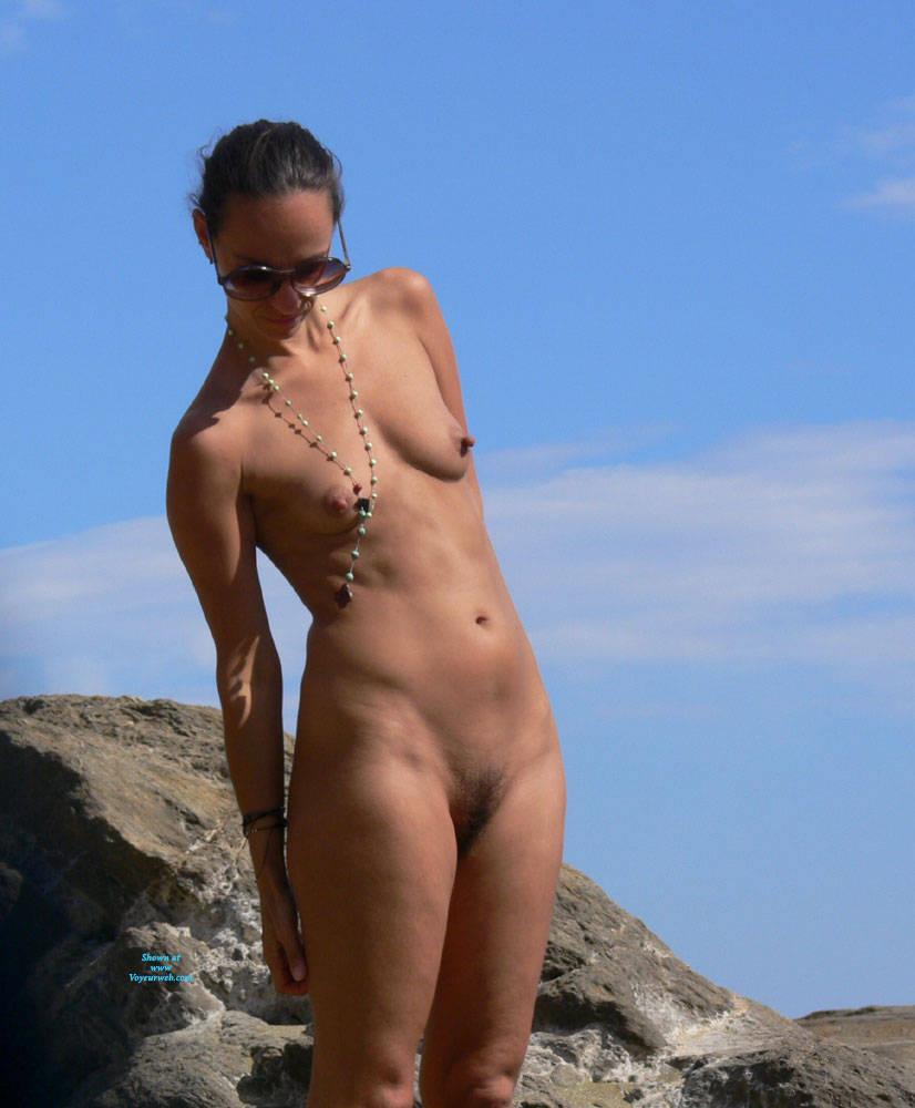 Pic #2 Nice Big Nipples  - Nude Girls, Beach, Brunette, Outdoors, Bush Or Hairy, Beach Voyeur, Big Nipples