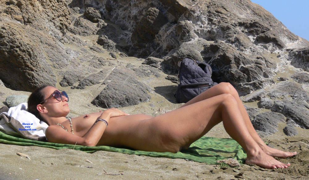 Pic #7 Nice Big Nipples  - Nude Girls, Beach, Brunette, Outdoors, Bush Or Hairy, Beach Voyeur, Big Nipples