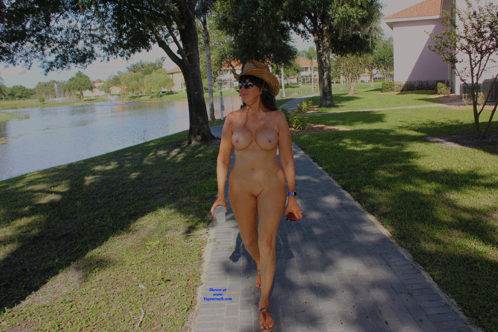Pic #3 Naked In The Neighborhood - Nude Girls, Big Tits, Brunette, Public Exhibitionist, Outdoors, Public Place, Shaved, Amateur