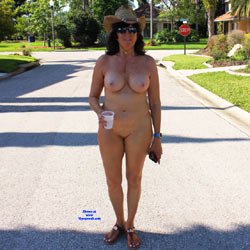 Naked In The Neighborhood - Nude Girls, Big Tits, Brunette, Public Exhibitionist, Outdoors, Public Place, Shaved, Amateur