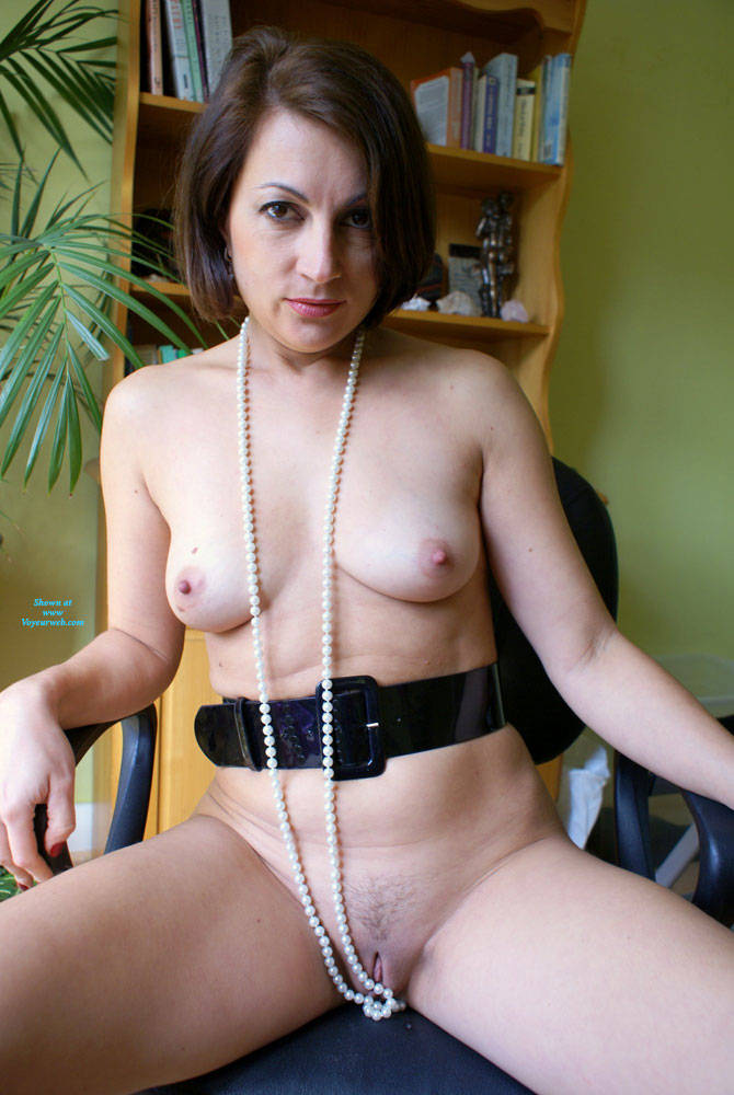 Pic #2 Anna At 40 - Just Pearls, Belt And Whip - Nude Girls, Brunette, Amateur