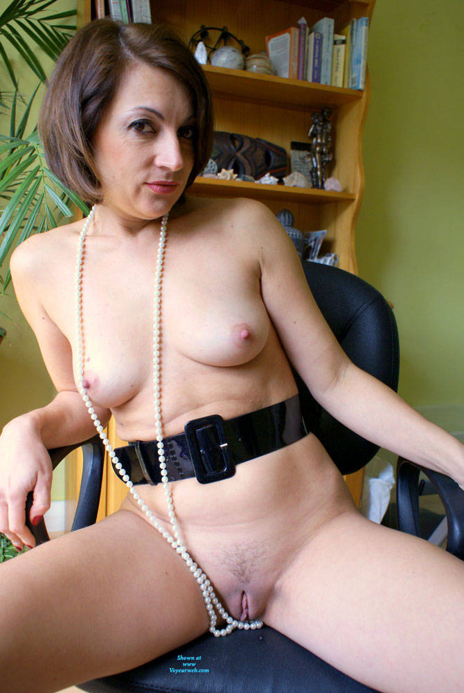 Pic #3 Anna At 40 - Just Pearls, Belt And Whip - Nude Girls, Brunette, Amateur