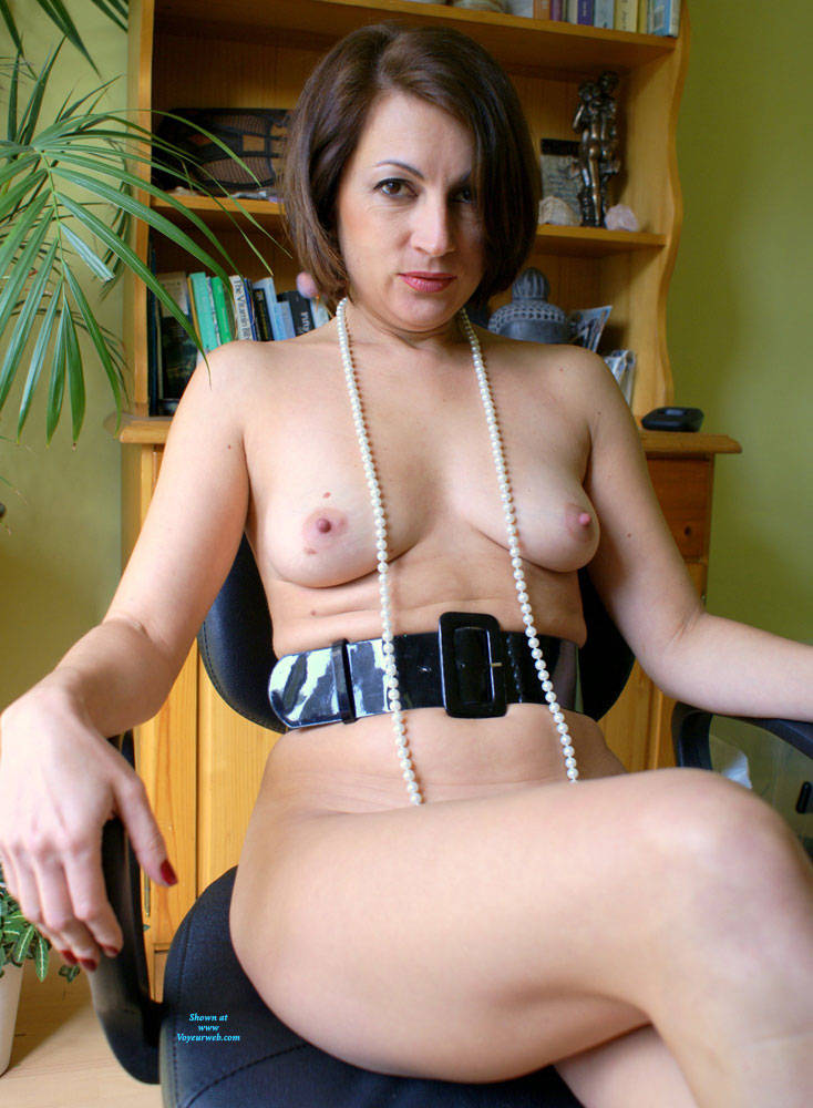 Pic #4 Anna At 40 - Just Pearls, Belt And Whip - Nude Girls, Brunette, Amateur