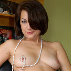 Anna At 40 - Just Pearls, Belt And Whip - Nude Girls, Brunette, Amateur