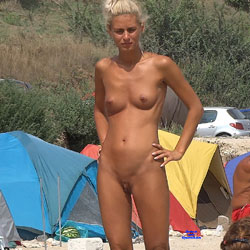 Camping Girl - Nude Girls, Blonde, Outdoors, Shaved