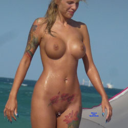 Tattooed Nude Mermaid - Nude Girls, Beach, Big Tits, Blonde, Outdoors, Shaved, Tattoos, Beach Voyeur