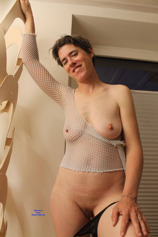 Pic #8 Sexy Fishnet - Big Tits, Brunette, See Through, Amateur
