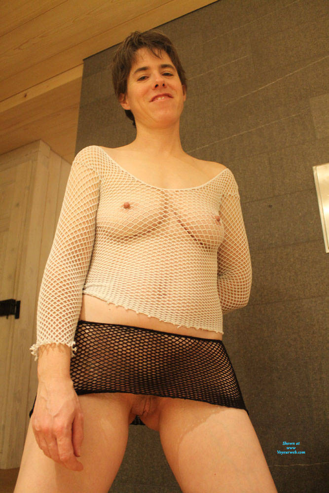 Pic #10 Sexy Fishnet - Big Tits, Brunette, See Through, Amateur