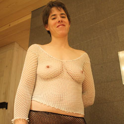 Sexy Fishnet - Big Tits, Brunette, See Through, Amateur