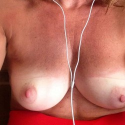Medium tits of my girlfriend - PB Puffies....selfies to her man