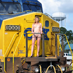 Work On The Railroad - Nude Girls, Public Exhibitionist, Flashing, High Heels Amateurs, Outdoors, Public Place
