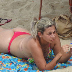 Red Bikini In Boa Viagem Beach - Blonde, Outdoors, Bikini Voyeur, Beach Voyeur