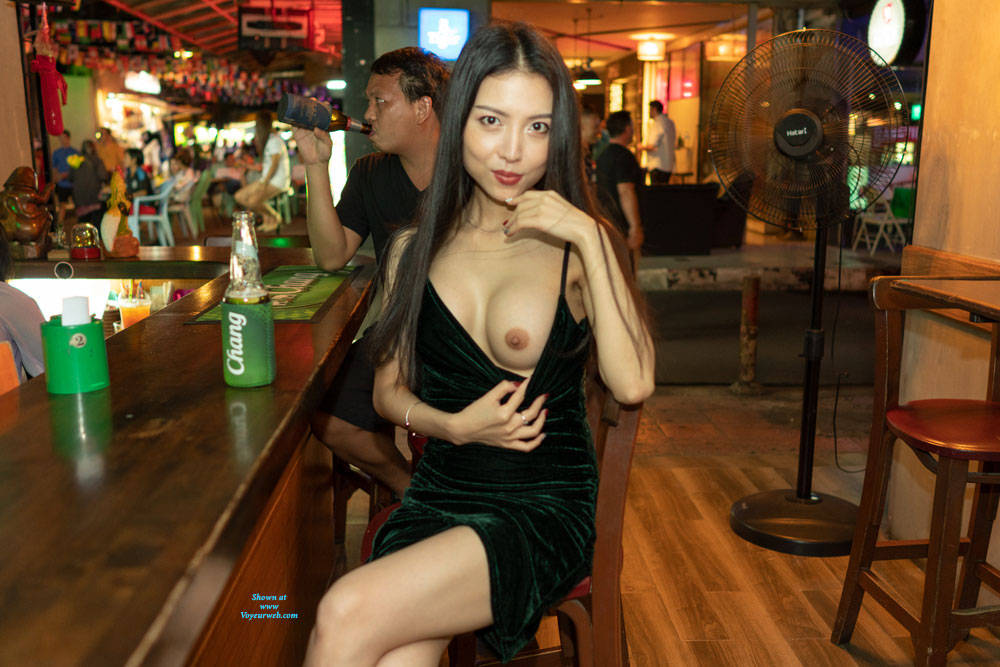 Flashing Tits In A Bar - Big Tits, Brunette Hair, Erect Nipples, Exposed In Public, Firm Tits, Flashing Tits, Flashing, Hard Nipple, Nipples, No Panties, Nude In Public, Showing Tits, Hot Girl, Sexy Body, Sexy Face, Sexy Figure, Sexy Girl, Sexy Legs, Amateur , Bar, No Bra, Dress, Long Hair, Firm Tits, Nipples