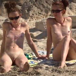 Twins? - Nude Girls, Beach, Brunette, Outdoors, Small Tits, Beach Voyeur, Firm Ass