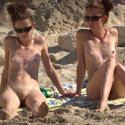 Twins? - Nude Girls, Beach, Brunette, Outdoors, Small Tits, Beach Voyeur, Firm Ass