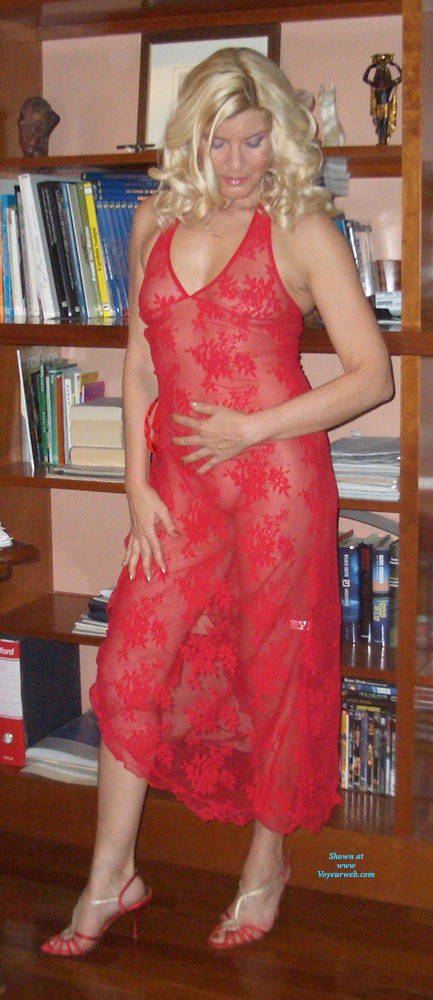 Pic #2 My Red Whore Dress - Brunette, High Heels Amateurs, See Through, Dressed, Women In See Through Clothes, Mature