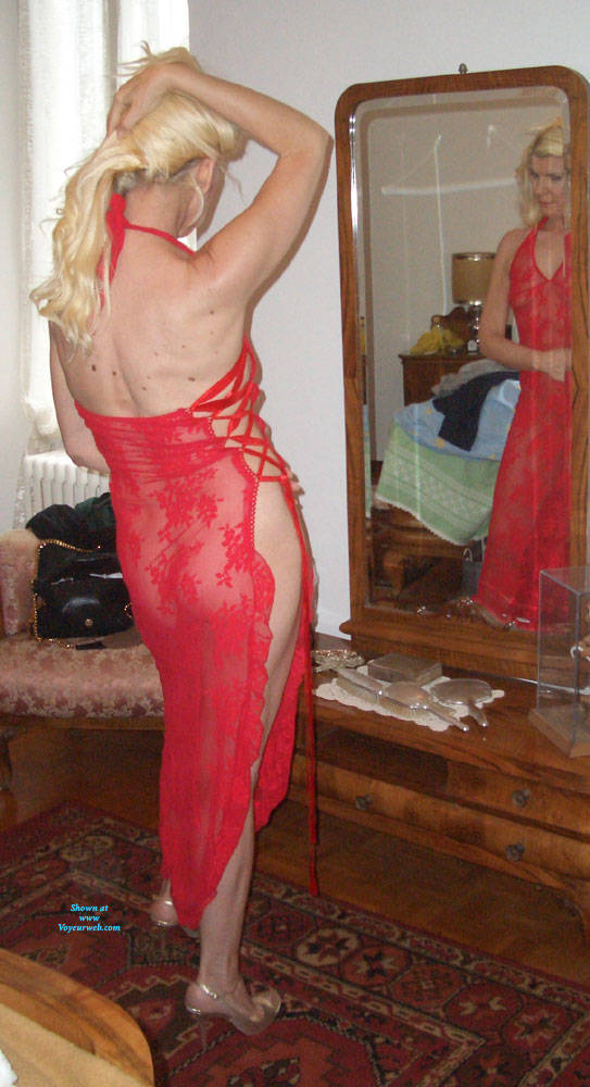 Pic #7 My Red Whore Dress - Brunette, High Heels Amateurs, See Through, Dressed, Women In See Through Clothes, Mature