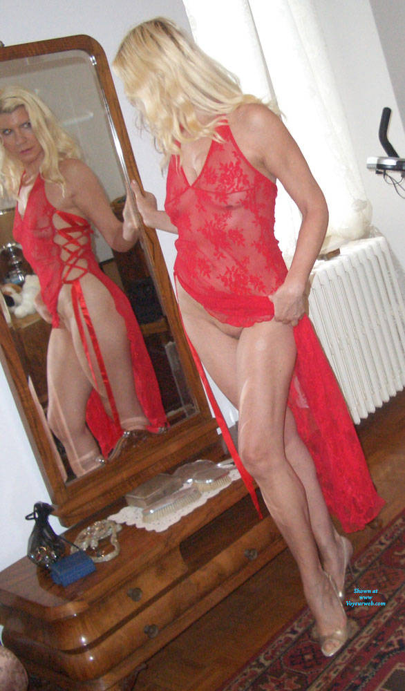 Pic #8 My Red Whore Dress - Brunette, High Heels Amateurs, See Through, Dressed, Women In See Through Clothes, Mature