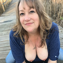 Tits At The Wetland Park - Big Tits, Brunette, Outdoors, Wife/Wives, Amateur