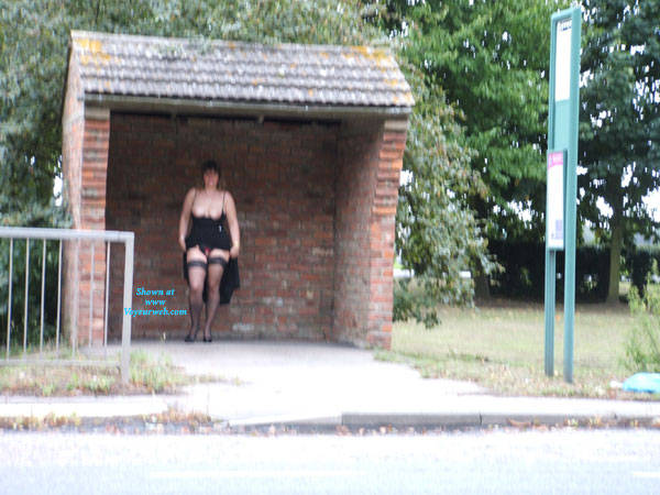 Pic #3 Bus Stop Tease - Big Tits, Public Exhibitionist, Flashing, Outdoors, Public Place, Amateur