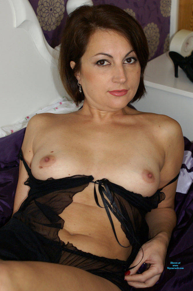 Pic #5 Anna Looking Sexy In A Black Nightie - Brunette, Lingerie, See Through, Amateur