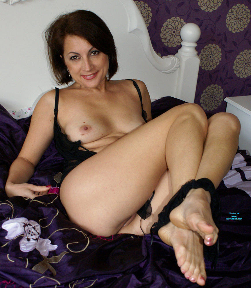 Pic #7 Anna Looking Sexy In A Black Nightie - Brunette, Lingerie, See Through, Amateur