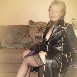 Cathy Shiny Rubber Slut Granny - Mature, Dressed, Granny