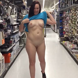 Shopping Can Be Fun - Brunette, Public Exhibitionist, Flashing, High Heels Amateurs, Public Place, Wife/Wives, Shaved