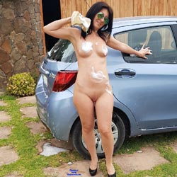 Car Wash - Nude Girls, Big Tits, Brunette, High Heels Amateurs, Outdoors, Shaved